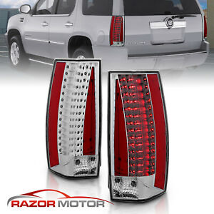 2007 2014 Cadillac Escalade Esv Chrome Euro Clear Led Brake Tail Lights Pair