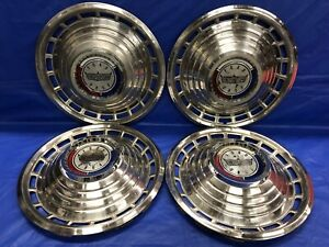 Vintage Set Of 4 1963 Ford 14 Hubcaps Galaxie 500 Fomoco Good Condition