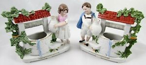 Vintage Pair Of Bisque Figurines W K G Boy Girl At Wishing Wells Germany