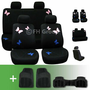 Butterfly Embroidered Fabric Car Seat Covers With Floor Mats Black