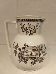 Antique Transferware Brown Fall Harvest Scenic Pitcher Deer Floral Deer Grouse