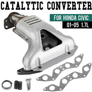 Exhaust Manifold W Catalytic Converter For Honda Civic 2001 2005 1 7l L4 Sohc