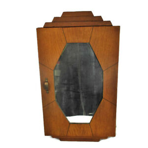 Mid Century Kitchen Apothecary Bathroom Wall Hanging Cabinet Mirror Funky Rare