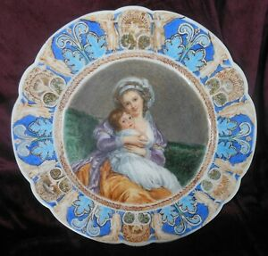 Great Antique French Hand Painted Porcelain Portrait Charger Mother