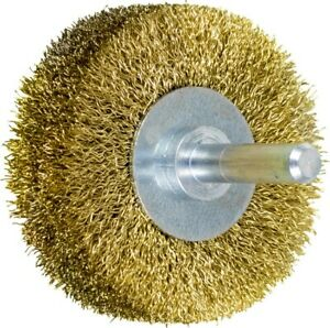 Pferd 82953 2 Crimped Shank Mtd Wheel Brush 008 Brass Wire 1 4 10 Pk