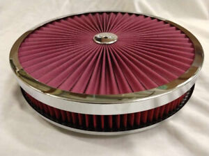 14 X 2 Round Chrome Red Washable Air Cleaner Flow Thru Filter Top Recessed Base