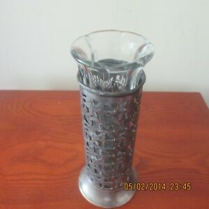 Antique Clear Glass Insert Bud Vase W Silver Flower Filligree Work 8 Tall