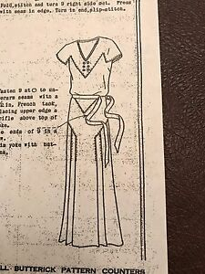 Antique Sewing Pattern Butterick 3619 Ladies Dress 1930 S