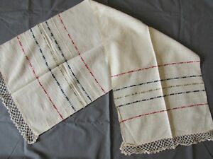 Hand Woven Antique Towel Cloth Linen Table Runner Textile Striped Vintage