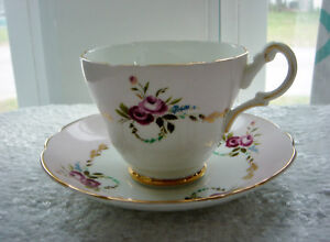 Vintage Regency Bone China Cup Saucer Pink Gold Roses