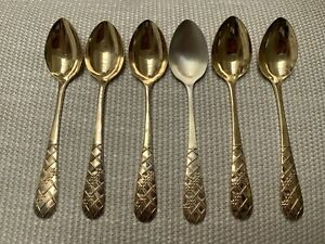 Vintage Set Of 6 Gilded Russian 875 Sterling Silver Teaspoons