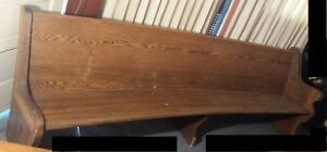 Refinished Oak Curved Church Pew 9 Feet Long Solid Wood