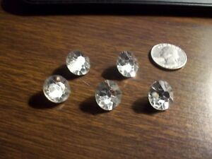 Antique Rhinestone Sewing Buttons Set Of 5 Faceted Metal Shanks