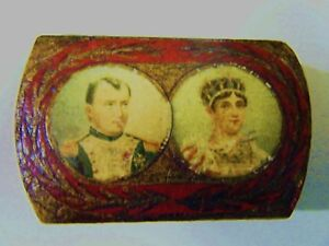 Early 19th Century Papier Mache Snuff Pill Box Napoleon Josephine Hand Painted