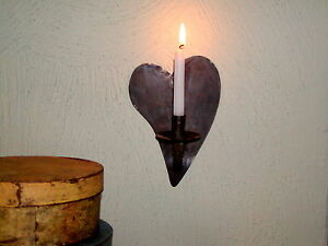 Primitive Early 17th 18th C Style Heart Shape Tin Wall Sconce Candle Holder