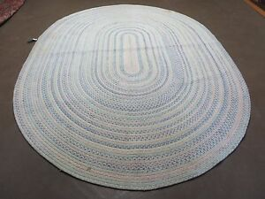 7 X 9 Vintage Hand Made American Braided Wool Rug Oval Blue Ivory Pink Nice