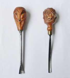 Unusual Japanese Netsuke Handled 19thc English Wood Turning Tools