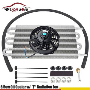 6 Row Oil Cooler 7 Cooling Fan W Kit Radiator Remote Aluminum Transmission