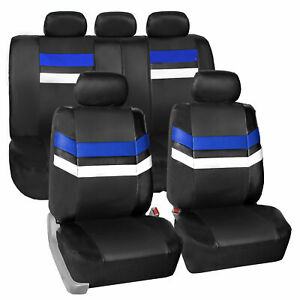 Blue Black Pu Leather Seat Covers Universal Fit Full Set For Car Auto Suv