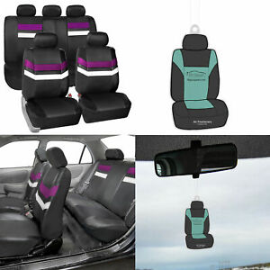 Universal Fit Pu Leather Seat Covers Full Set For Auto Car Suv Purple W Gift