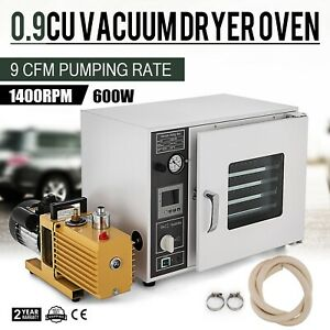 0 9cf Vacuum Oven W 9 Cfm 2 stage Pump 5 sided Heating Aluminum Pan Shelves
