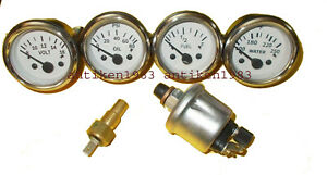 With Oil Temp Sender 52mm Electrical Oil Pressure Temp Volt Fuel Gauge White