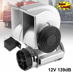 Silver 12v 139db Car Lacquer Snail Compact Dual Air Horn Car Motorcycle Truck