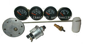 With Oil Temp Fuel Sender 52mm Elec Oil Pressure Temp Volt Fuel Gauge Black