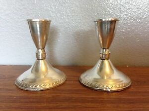 Vintage Sterling Silver Candle Stick Holders Weighted Pair