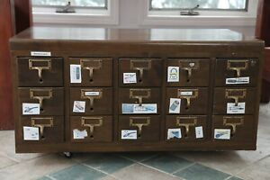 Vintage 15 Drawers Wooden Card Catalog Cabinet Library File Cabinet Organize