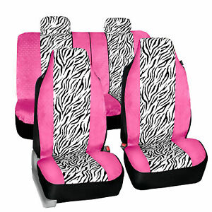 Universal Fit Highback Seat Covers Full Set Pink White Zebra Design For Auto