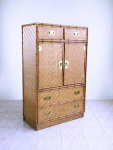 Mid Century Campaign Chinoiserie Hollywood Regency Faux Bamboo Amoire Dresser