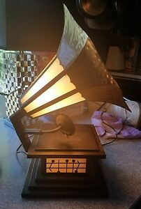Antique 1940 S Hand Formed Metal And Slag Glass Victrola Table Lamp
