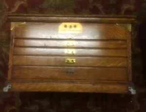 Antique Oak Tabletop Flat File W Brass Trim