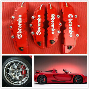 4x Red 3d Auto Car Disc Brake Caliper Covers Front Rear Wheels Accessories Kit