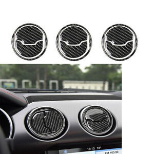 For Ford Mustang 2015 2017 Carbon Fiber Air Condition Vent Outlet Cover Trim