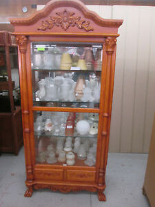 49827 Carved Royola Pacific Cherry China Cabinet Curio