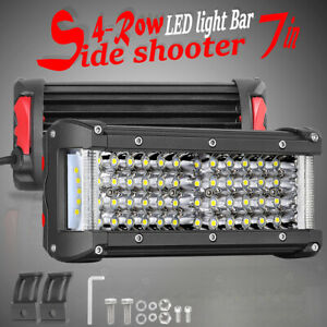 2x 7 580w Side Shooter Quad Row Led Work Light Bar Spot Flood Driving Off Road