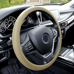 Silicone Steering Wheel Cover Python Snake Skin Design Beige For Auto
