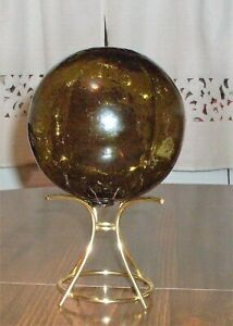 Olive Drab Green Glass Fishing Float 5 1 4 Tall Diameter 5 Circumference 16