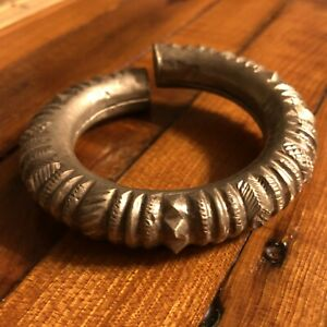 Medieval Style Antique Cuff Bracelet Jewelry Artifact Silver Tone Middle East A