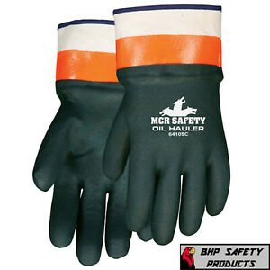 Mcr Safety Chemical Resistant Gloves Oil Hauler Large 6410sc Double Dipped Pvc