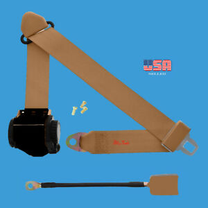 1 Kit Of 3 Point Universal Strap Retractable Adjustable Safety Seat Belt Beige