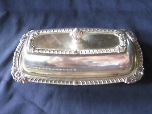 L K Lovely Vintage Ornate Oneida Butter Dish No Glass Liner Very Nice