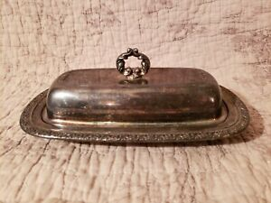 Vintage Wm Rogers Silver Plated Butter Dish With Glass Liner