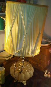 Vintage Mid Century Ornate Glass W Brass Bronze Base Double Lighted Lamp