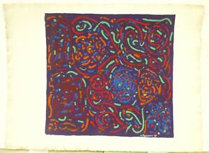 Vintage Abstract Modernist Colorist Painting Mid Century Modern Signed