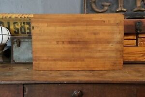 Antique Vtg Primitive Butcher Block Wood Bread Cutting Board Country Farmhouse