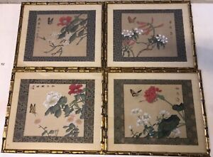 Vtg Asian Chinese 4 Signed Painted On Silk Bamboo Frame W Floral Butterfly Dec