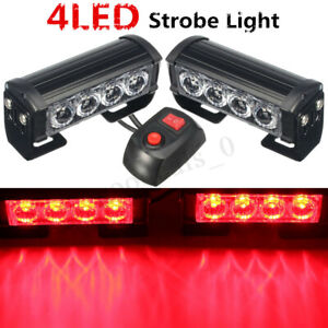2x 4 Led Red Car Van Strobe Flash Grille Light Warning Hazard Emergency Lamp